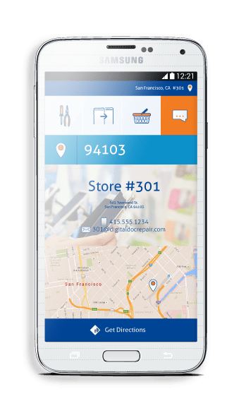 Samsung phone with Digital Doc store directions
