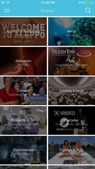 Vrideo Virtual Reality App